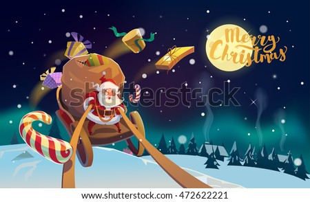 stock vector christmas card santa with the bunch of presents riding on a sleigh at the winter forest polar 472622221 - Каталог — Фотообои «Для детской»