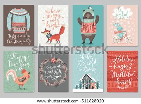 Christmas card set, hand drawn style. Vector illustration.