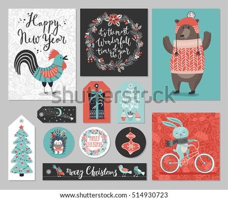 christmas card set  hand drawn