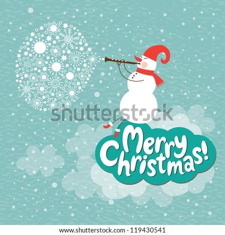 Christmas card, Snowman play on a horn