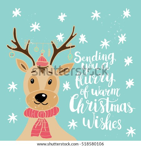 Christmas card template. Hand drawn lettering. Perfect brush typography for cards, poster, t-shirt, invitations and other types of holiday design. Vector illustration.