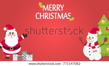 Christmas card vector. Santa Claus cartoon. free space for text.  #771147082