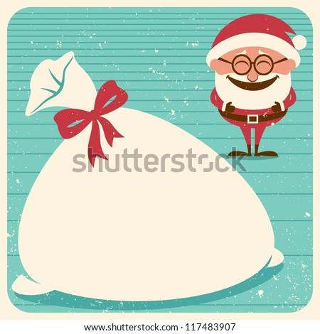 Christmas Card 3: Vintage Christmas card with Santa Claus. Place your text on his sack.   No transparency and gradients used.