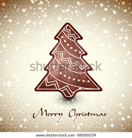 Christmas card  whith chocolate gingerbread tree