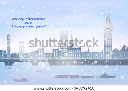 christmas card  winter big city
