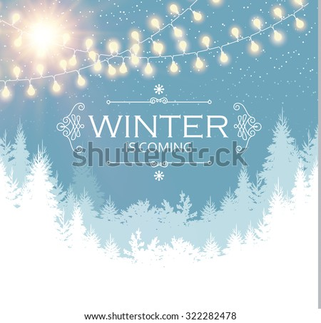 Christmas card. Winter landscape with coniferous forest & light garlands. Vector illustration