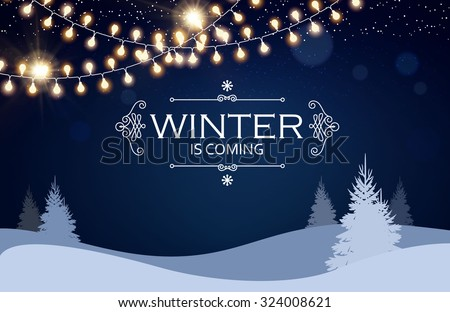 Christmas card. Winter landscape with firs & light garlands. Night background. Vector illustration