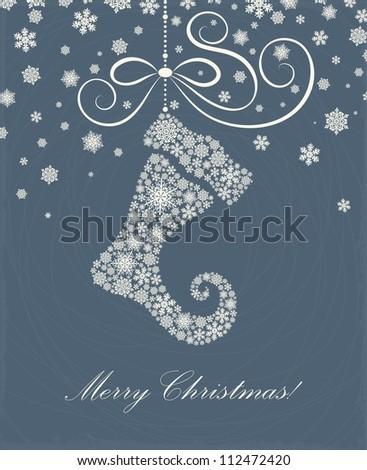 Christmas card with a Christmas sock