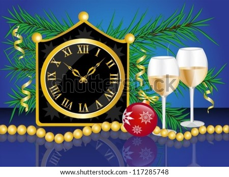 Christmas card with a clock, champagne glasses and fir branches with Christmas decorations