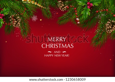 Christmas card with a composition of festive elements such as gold star, berries, decorations for the Christmas tree, pine branches. Merry Christmas and Happy New Year. Vector glitter decoration, gold #1230658009