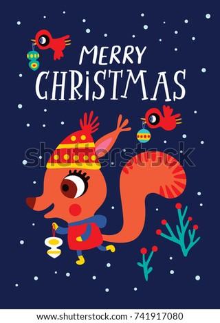 christmas card with a cute
