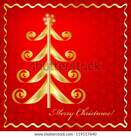 Christmas card with a gold fir-tree on a red seamless textured background and an inscription Merry Christmas! Vector. eps 10