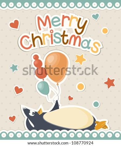 Christmas card with a penguin