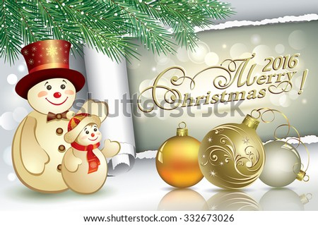 Christmas card with a snowman and balls in 2016.