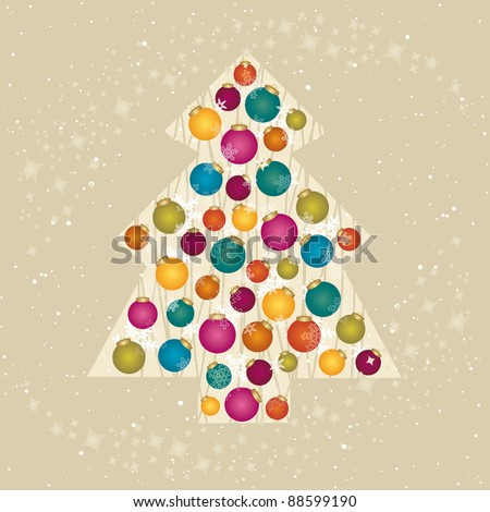 Christmas card with a tree decorated with snowflakes and baubles by BibiDesign