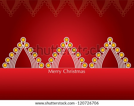 Christmas Card with abstract Christmas tree red background