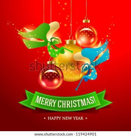 Christmas card with Angels and inscription on a green ribbon. Vector illustration.