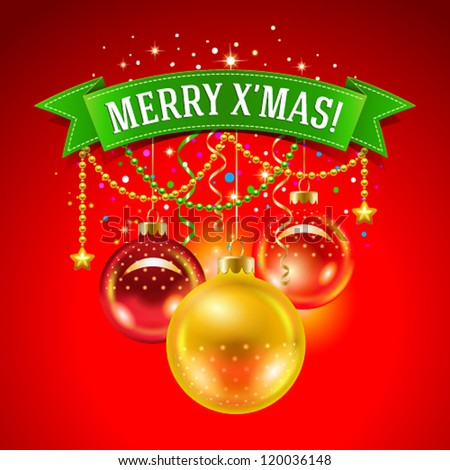 Christmas card with baubles and inscription on a green ribbon. Vector illustration. - stock vector