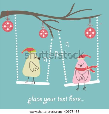 christmas card with bird couple