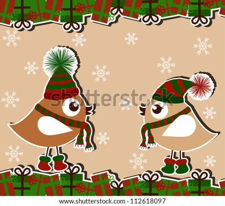 Christmas card with birds and gifts