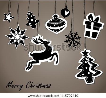 christmas card with black and white elements