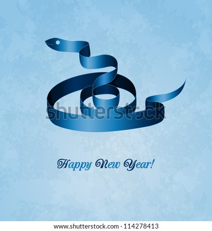 Christmas card with blue snake. 2013 new year. Vector Illustration.