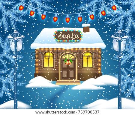 christmas card with brick house ...