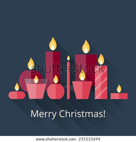 christmas card with candles in