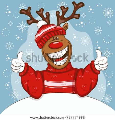 christmas card with cartoon