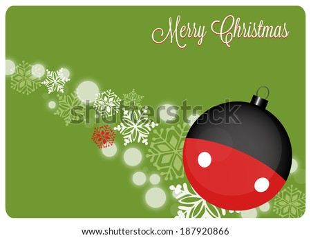 Stock Photo christmas card with christmas decoration and snowflakes on green background