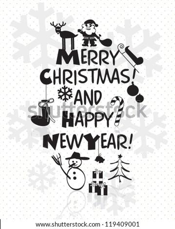 Christmas card with christmas icons hand drawn vector