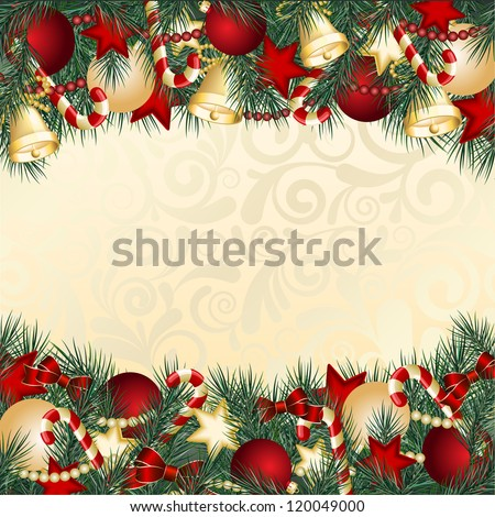 Christmas card with Christmas tree branches and balls. Vector illustration