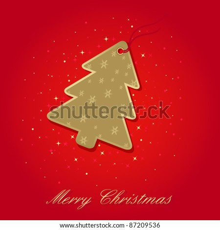 christmas card with christmas tree label on red, elements are in separate layers and grouped, easy to edit