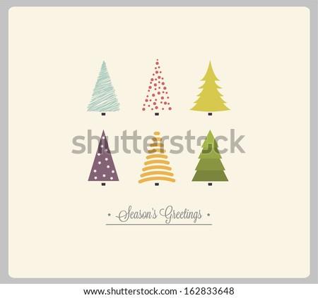 Christmas card with Christmas tress