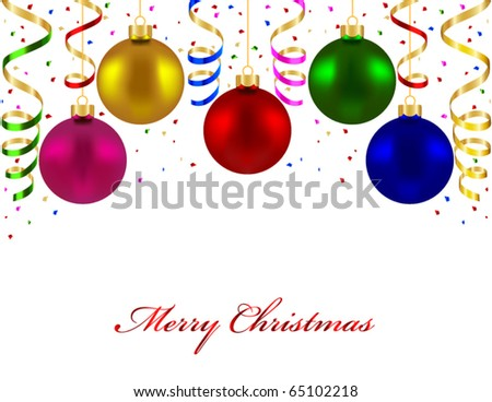 Christmas card with colorful balls