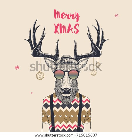 Christmas Card with Cool Hipster Deer, Merry Xmas, Vector Illustration