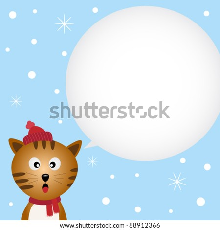 Christmas card with cute cat
