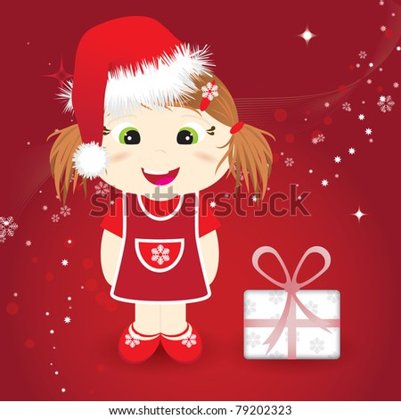 christmas card with cute girl