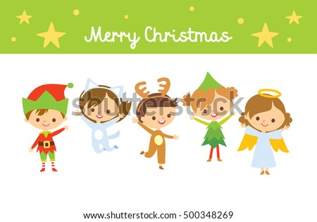 christmas card with cute kids
