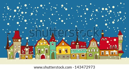 Christmas card with cute little town. seamless - Shutterstock ID 143472973