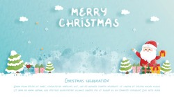 Christmas card with cute Santa and gift boxes in paper cut style vector illustration.