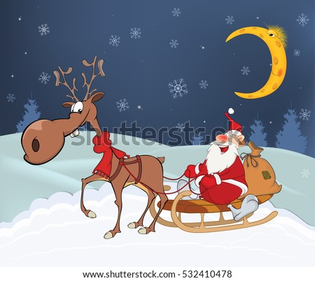 Christmas Card With Cute Santa Claus And Reindeer Vector Illustration