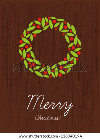 Christmas card with decorations, Christmas wreath, merry christmas