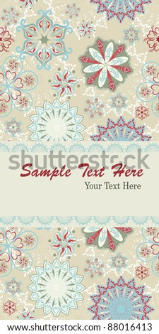Christmas Card With Elegant Seamless Pattern