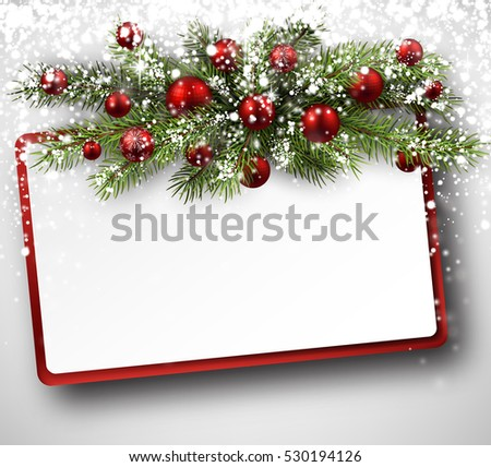 Christmas card vector download free vector art stock graphics christmas card with fir branches balls and snow vector paper illustration m4hsunfo