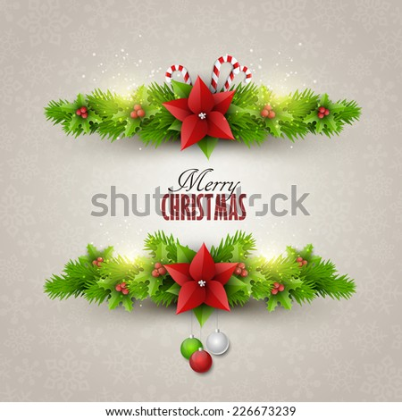 Christmas card with fir twigs and decoration elements #226673239