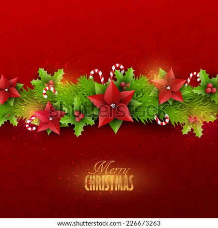 Christmas card with fir twigs and decoration elements