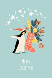 Christmas card with funny penguin in Santa hat and sock with gifts and decorations. Cartoon illustration in flat style