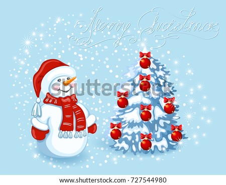 christmas card with funny snowman in santa cap against snowfall background and christmas tree element - Santa Claus Christmas Cards