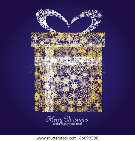 christmas card with gift box